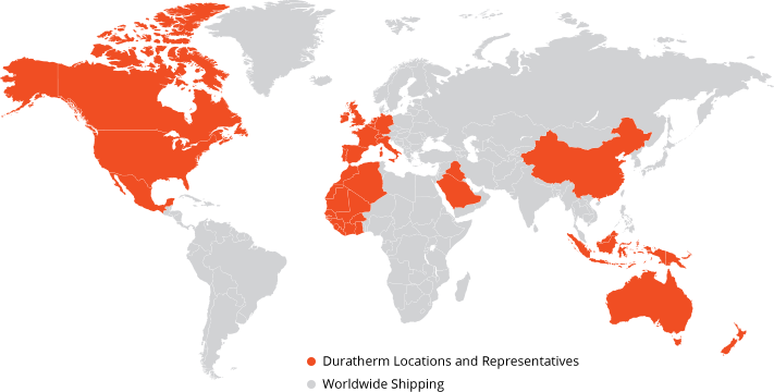 Map showing Duratherm Heat Transfer Fluids worldwide locations